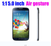 Wholesale 5 inch i9500 S4 Air Gesture Smart Cell Phone Android MTK6589 Quad Core G WCDMA G GSM Quad Band H9500 Play Sore