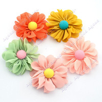 Wholesale x Chiffon Flowers DIY Craft Wedding Appliques multilayer handmade flower