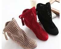 Wholesale Fashion women s cut outs Boots Spring and Summer short Boots Inside High heeled Shoes D