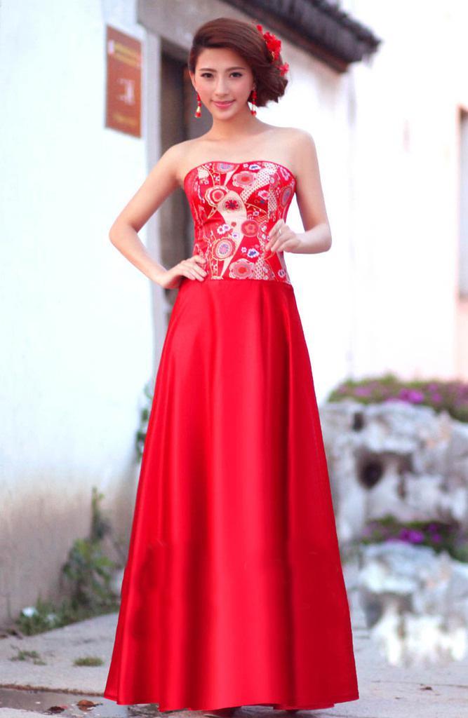 Pièces Cheongsam Chinoise Robes Robes De Mariée Rouge De Robe De ...