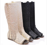 Wholesale 2013 Fashion Leisure Women s Summer Net Cut outs Peep Toes Flats Knee High Boots Shoes for Ladies Female D