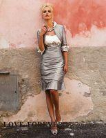 Sheath/Column Taffeta Sexy Free Jacket! Hot Sales Mother Of Bride Dress Sexy Applique Ruffle Knee-Length Evening Dresses BO1380