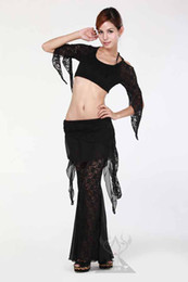 Wholesale Sexy Practice Belly Dancing Lace Chiffon Costume Top Belt Pants Belly Dance Set C1103