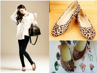 Wholesale 2013Preppy Lady Sexy Leopard Flats Casual Ballet Shoes Slippers Women Lovely Girl D