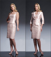 mother of the bride suits - custom made Skin Pink Taffeta Knee Length Mother of the Bride Suits With Lace Skirt