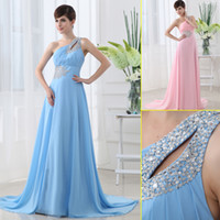 sky blue wedding dress - 2013 Chiffon Sky Blue Pink One Shoulder Beaded Pleat Floor Length Cheap Sexy Long Gowns for Wedding Bridesmaid Prom Dress Gowns for Evening