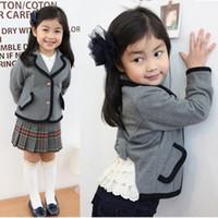 Wholesale Children s clothing autumn clothes girls plaid skirt short skirt two piece suit long sleeve coat Children Set set