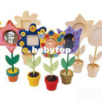 Baby Boys Learning Machine 24pcs lot,draw your own flower pot photo frame,paint unfinished hobby,wood toys,wooden picture frame,16.5cm,free shipping ZF138