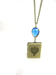 Wholesale UP UP AND FLY AWAY balloon book locket necklace pendant NW702