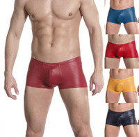 Polyester Boxers Sexy New Hot Adult Sexy Mens Underwear Man Male Boxer Briefs Pouch Low Rise Shorts Size M L XL Faux Leather Like Trunks Underpants 5 Colors