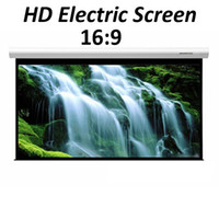 16:9 electric projection screen - 100inch inch Electric Motorized Projection HD LCD LED DLP Projector Screen Remote Control