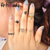 Wholesale Artilady midi ring stack rings gold plating skull heart deisgn ring with crystal jewelry