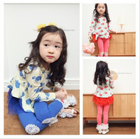 apple leggings - 2piece set Girls printed apple Tshirt pure color lace leggings suits Autumn leisure suit