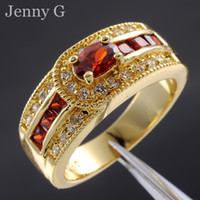 Wholesale Jenny G Jewelry Size Special Lady s Red Garnet Gemstone KT Yewllow Gold Filled Cocktail Ring for Women