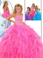 Beads Organza Floor-Length New Arrival 2013 Flower Girl Formal Occasion Gown Lovely Halter Floor Length Beads Kids' Birthday Party Dress Children Pageant