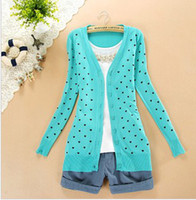Wholesale 2015 women s sell like hot cakes long sleeve recreational sweater Small love decoration heart printed Crochet Knit Sweater Cardigan