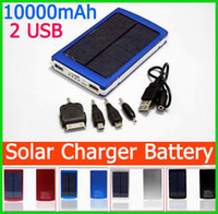 0-20 W For Cell Phone No High Capacity Solar Charger and Battery 10000mAh Solar Panel Dual Charging Ports portable power bank for Cell phone MP3 MP4