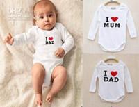 Summer baby girl dad - Children New Design Baby Boys Girls romper Cute I Love DAD MUM bodysuits Long sleeves cotton jumpsuits xcs