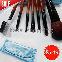 Wholesale HOT Synthetic Hair Mini Travel make up brush set with Leather Case Cosmetic make up tool kit BM0022