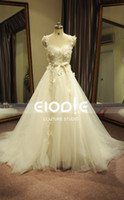 Wholesale Fashion Real Pictures Elie saab Cap Sleeves Lace Beaded Hand FLowers A line Bridal wedding dress Wedding Gown
