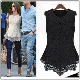 Wholesale 2013 Summer New Star Lace Blouses Nip waisted Sleeveless Slim Top Elegant OL Fashion Work Blouse C0113