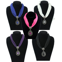Mexican Women's Alloy 2013 Fashion Spring Fabric Choker Water Drop Pendant Scarf Necklace, Short Collar Jewelry necklaces, mixed colors,6 pcs lot