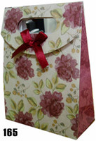 Wholesale Elegant Flower Gift Bags Red Ribbon Christmas Gift Jewelry Party Paper Bag CA14