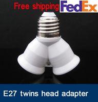 base two converter - two head E27 adaptor E27 Base Light Lamp Bulb Socket to Splitter Adapter E27 twins adaptor converter double head adapter