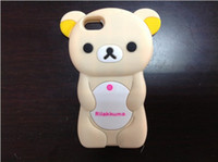 Wholesale New Rilakkuma cartoon teddy Bear D style soft Silicone Gel Back cover case for iphone S iphone G Samsung Galaxy S3 I9300 S4 i9500