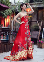 Wholesale Chinese cheongsam red wedding dresses evening dresses luxury beading red strapless slim Mermaid style heavy handwork Mullet dress dhl free
