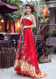 Wholesale Chinese cheongsam red wedding dresses evening dresses luxury beading red strapless slim Mermaid style heavy handwork Mullet dress