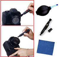 Wholesale 3 in Lens Cleaning Cleaner Dust Pen Blower Cloth Kit For DSLR VCR Camera Canon L146