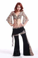 Wholesale NEW Professional Leopard bellydance training set Butterfly sleeve top Harempant Bellydancing practice outfit with hip scarf C1112