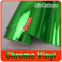 Carbon Fiber Vinyl Film chrome green - Green Chrome Vinyl Car Wrapping Film For Car Decaration Whit Air Bubble Free m