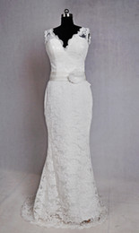 Cheap Real Image V Neck Lace Bride Wedding Dresses White Capped Sleeve Ribbons Sheer Straps Open Back High Quality Bride Gowns