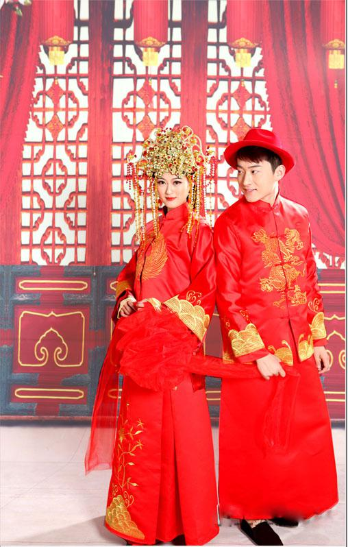 Chinese Clothing Red Traditional Wedding Dress Toast Cheongsam Bride And Groom Wedding Suit