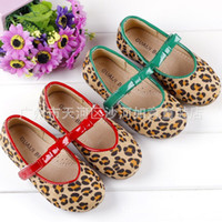 Spring / Autumn Leopard Round Toe Fashion Baby Girls Shoes Leopard Bowknit Toddler Bow Shoes Soft Single Shoes Wear Comfortable Antiskid Kids Casual Shoes Red Green 1327
