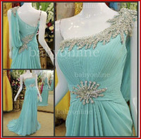 Court Train chiffon pageant gowns - Hot Sales One Shoulder Sky Blue Chiffon A Line Pageant Dresses Pleat Beaded Crystal Court Train Empire Evening Gown BO1600