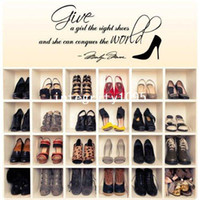 Graphic vinyl PVC Animal Marilyn Stickers Give A Girl The Right Shoes...Family Quotes Wall Paper Home Decor Free shipping