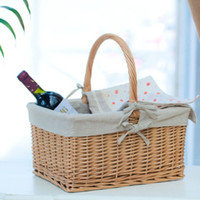 Sundries willow basket - Home rattan picnic basket willow storage basket storage basket box basket
