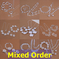 Wholesale Mixed Order Mulit Mutiple Styles Sterling Silver Plated Earrings Bracelet Necklace Jewelry Set SET106