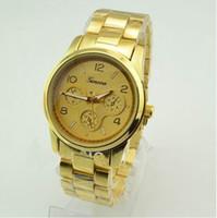 Wholesale Cheap Women Wrist Watches - Geneva gold watch Ladies Women Girl Luxury brand Stainless Steel Quartz Wrist Watch Reloj clock relojes mujer cheap dress watch