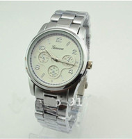 Wholesale GENEVA women metal band alloy watch japan movement three colors