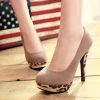 Wholesale Fashion Women Shoes Leopard Retro Women Shoes Round High Hees Shoes SHL5186