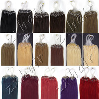Wholesale 100S quot Micro rings loop hair remy Human Hair Extensions red g s