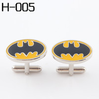 Wholesale Men s accessories Fashion Cufflinks SUPERHERO Cufflinks FOR MEN BATMAN YELLOW AND BALCK Wholesales