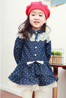 3-7Y Without Hood Spring / Autumn New Children's Denim Coats Skirt Wind Coat Sweety Princess Polka Dots Lace Flouncing Bow Coats Jackets Lovely Dark Blue Age 3-7Y 1332