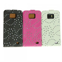 Wholesale Best Seller Blossom Flip Leather Bling Case for Samsung Galaxy S2 i9100 Cover for Samsung S Cell Phone Cases