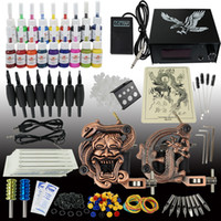 Wholesale US Shipping Tattoo Kit Machine Gun Color Ink Power Supply Needle Set Equipment T006