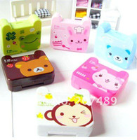 animal contact len cases - Ladies Women Cute Lovely cartoon animal square Travel Portable Contact Len Lenses Container Case Set Holder Box